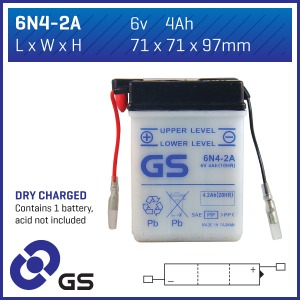 GS Battery 6N4-2A(DC) - 10 per case
