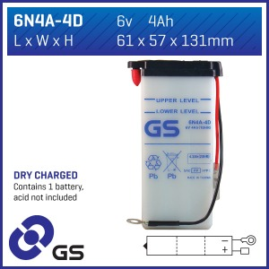 GS Battery 6N4A-4D(DC) - 10 per case