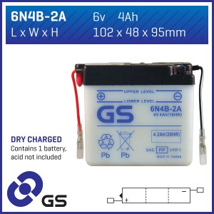 Battery GS 6N4B2A-6V - Dry Cell, No Acid Pack (Case 10)
