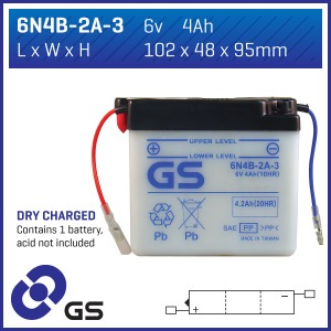 Battery GS 6N4B2A3-6V - Dry Cell, No Acid Pack (Case 10)