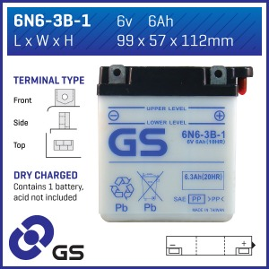 Battery GS 6N63B-1-6V - Dry Cell, Includes Acid Pack