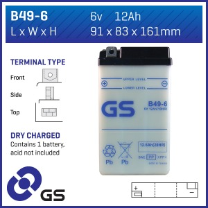 Battery GS B49-6-6V - Dry Cell, No Acid Pack