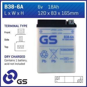 Battery GS B38-6A-6V - Dry Cell, No Acid Pack (Case 5)