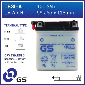 GS Battery CB3L-A(DC) - 10 per case