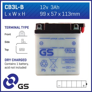 GS Battery CB3L-B(DC) - 10 per case