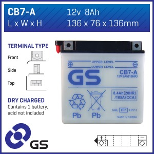Battery GS CB7-A-12V - Dry Cell, No Acid Pack (Case 5)