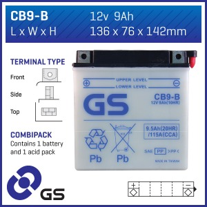 Battery GS CB9B-12V - Dry Cell, Includes Acid Pack (3)