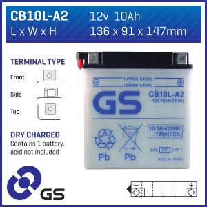 Battery GS CB10LA2-12V - Dry Cell, No Acid Pack