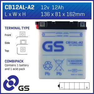 Battery GS CB12ALA2-12V - Dry Cell, Includes Acid Pack (Case 3)