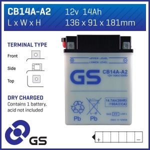 GS Battery CB14A-A2(DC) - 5 per case