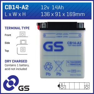GS Battery CB14-A2(DC) - 5 per case