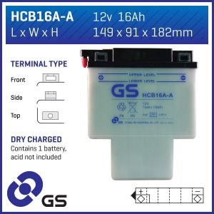 Battery GS HCB16AA-12V - Dry Cell, No Acid Pack (Case 4)