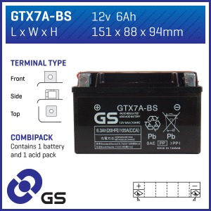 Battery GS GTX7ABS-12V MF VRLA - Dry Cell, Includes Acid Pack (Case 4)