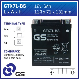 Battery GS GTX7LBS-12V MF VRLA - Dry Cell, Includes Acid Pack
