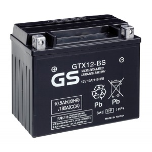 Battery GS GTX12BS-12V MF VRLA - Dry Cell, Includes Acid Pack (Case 4)