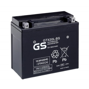 Battery GS GTX20LBS-12V MF VRLA - Dry Cell, Includes Acid Pack