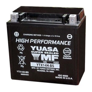 Battery Yuasa YTX14HBS-12V High Performance MF VRLA - Dry Cell, Includes Acid Pack (Case 1)