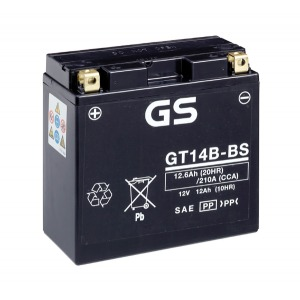 Battery GS GT14B-BS-12V MF VRLA - Dry Cell, Includes Acid Pack (Case 4)