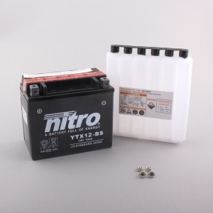 NITRO BATTERY YTX12-BS AGM open with acid pack (CASE 4) (GTX12-BS)
