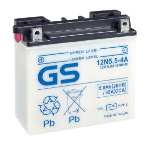 Battery GS 12N5.5-4A-12V - Dry Cell, Includes Acid Pack (Case 4)