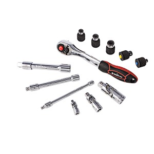 Bikeservice Tools 12pc ratchet, UJ, extension and adapter set
