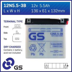 Battery GS 12N5.5-3B-12V - Dry Cell, Includes Acid Pack