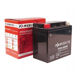 Battery Powerite PTX14BS-12V MF - Factory Activated Sealed, Full box of 6