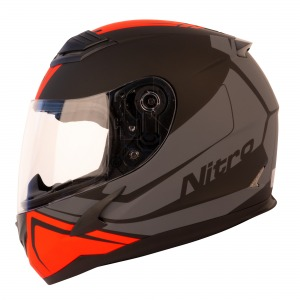 Helmet Nitro N2400 Rogue Satin Black/Gun/Safety Red XS 54