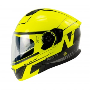 HELMET NITRO F350 ANALOG BLACK/SAFETY YELLOW/GUN L 60