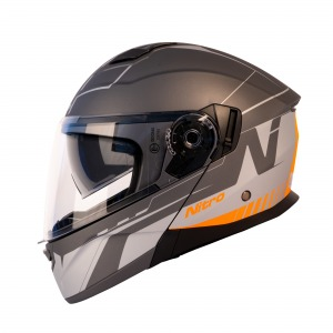 HELMET NITRO F350 ANALOG SATIN GUN/LIGHT GREY/FLO ORANGE XS 54