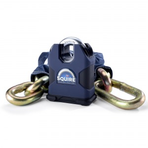 Squire Samson Sold Secure Gold 80 Boron 16mm Closed Shackle Lock with 16mm x 1.2m Chain