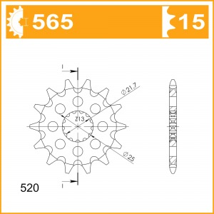 Sprockets Supersprox MX Grooved Cst-565:15