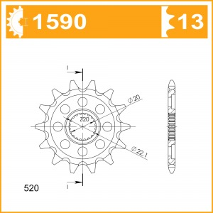 Sprockets Supersprox MX Grooved CST-1590:13