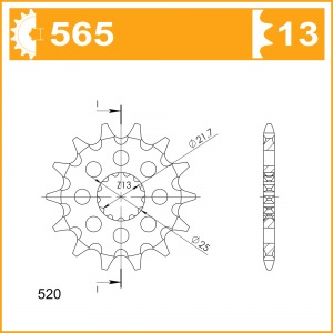 Sprockets Supersprox MX Grooved CST 565x13