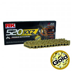 CHAIN RK 520KXZ-120 GOLD & GOLD WITH CLIP LINK FOR OFF ROAD USE - PRO MX NON-O-RING