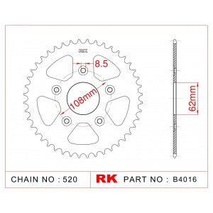 Sprocket Rear RK-B4016-41 JTR701 Afam 44203