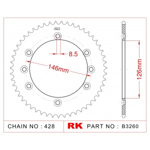 Sprocket Rear RK-B3260-45 JTR805 Afam 14202