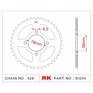 Sprocket Rear RK-B3254-42 JTR810 Afam 14201