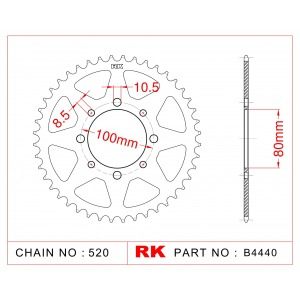Sprocket Rear RK-B4440-37 JTR8192 Afam 14312