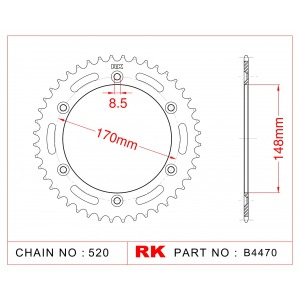 Sprocket Rear RK-B4070-47 JTR828 Afam 14501